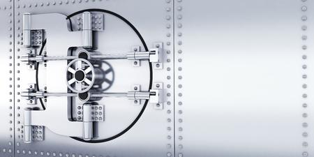 Big safe door steel in bank storage. 3d illustration