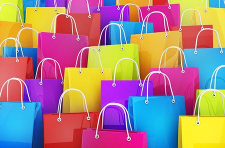 Many shopping bag background. 3d illustration