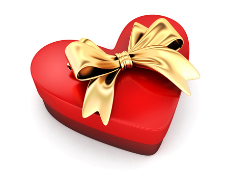 box: Red gift in shape heart. 3d illustration