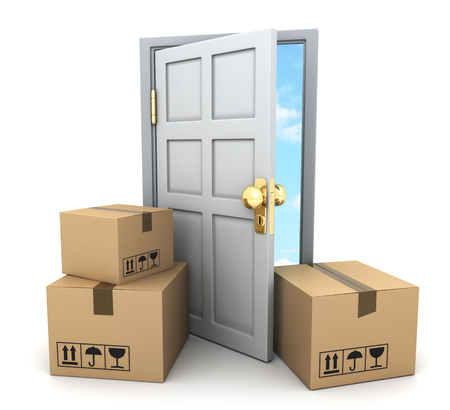 A lot of cardboard boxes for moving and door. 3d illustration Фото со стока