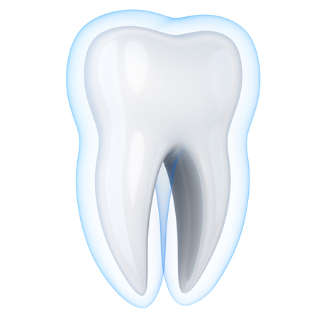 Isolated white tooth and protect shell. 3d illustration