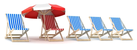 reclining: Five lounger blue and one red. 3d illustration