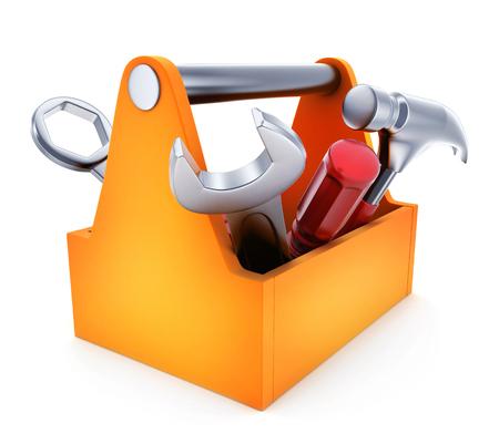 Toolbox symbol on white background. 3d illustration