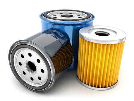 Trois filtre à huile sur fond blanc. illustration 3d