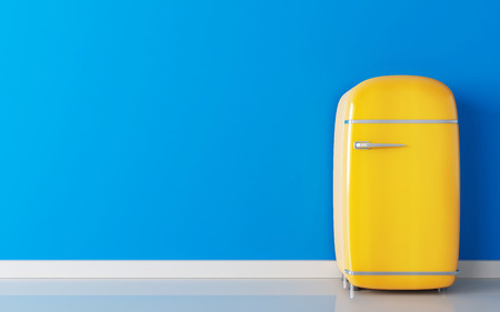 Old yellow fridge and blue wall. 3d illustration Stok Fotoğraf