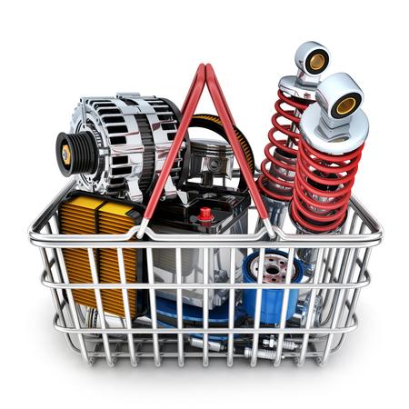 Many car parts in shop basket. 3d illustration