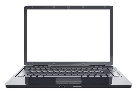 Black isolated laptop and empty white screen. 3d illustration