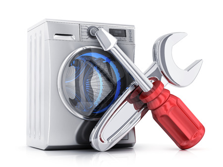 major household appliance: Modern clothes washer and symbol repair on white background. 3d illustration