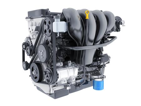 details: Engine car on white isolated background. 3d illustration Stock Photo