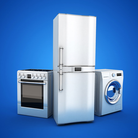 electronic background: Consumer electronics stell.Fridge,washer and electric-cooker on blue background. 3d illustration
