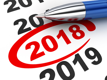 New year sign 2018 and pen. 3d illustration Stock Photo