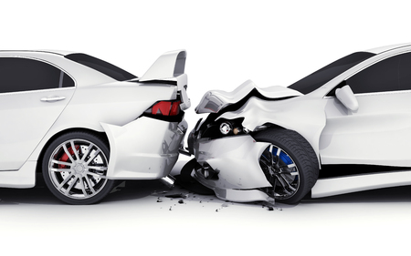 Two car crash on white background. 3d illustration Stok Fotoğraf