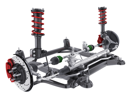 Car suspension and brake disk and steering. 3d illustration