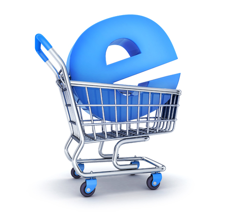Cart and symbol e-shop. 3d illustration