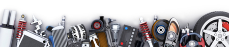 Many auto parts row. 3d illustration Archivio Fotografico