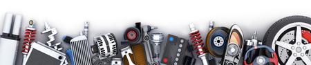 Veel rij met auto-onderdelen. 3D illustratie