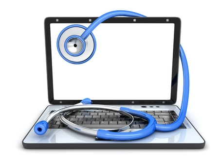 Laptop broken and symbol repair and stethoscope. 3d illustration