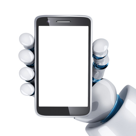 Phone view front, empty screen and robot hand. 3d illustration Stock Photo