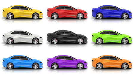 Nine car in different colors on a white background. 3d illustration