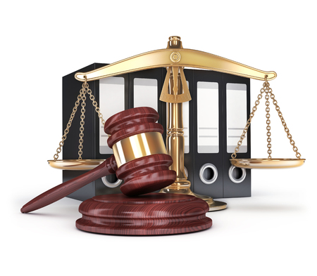 gold scales and gavel. 3d illustration