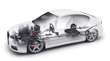Transparent car and spare and engine and other detail. 3d illustration