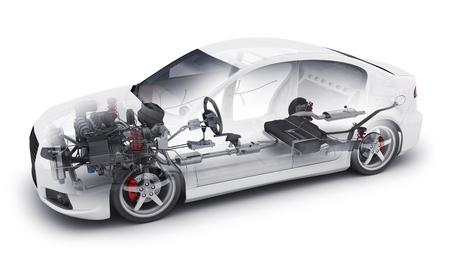 Przezroczysty samochód i zapasowy silnik i inne szczegóły. 3d ilustracja