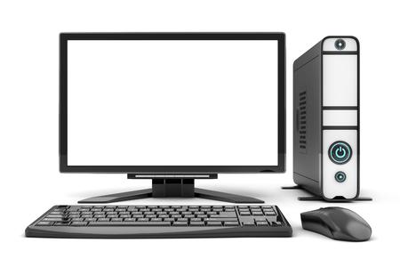 Computer view front, empty white screen. 3d illustration Reklamní fotografie
