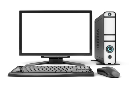 Computer view front, empty white screen. 3d illustration Stock Photo