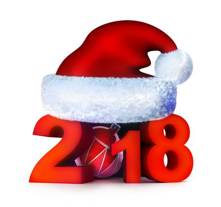 New year 2018 and santa cap. 3d illustration Stock Photo