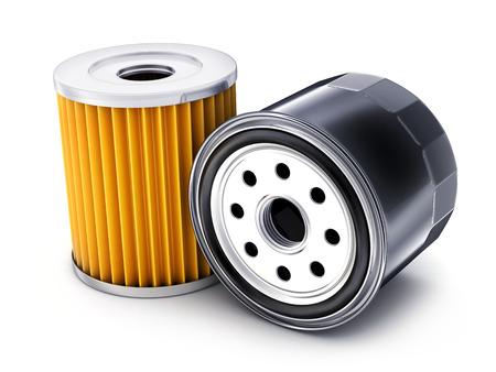 Two car oil filter on white background. 3d illustration Stock Photo