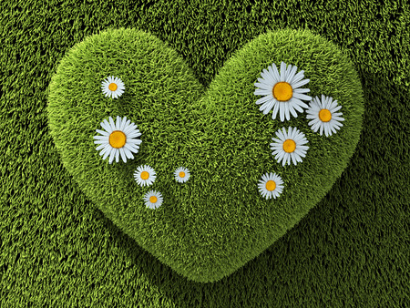 Abstract one heart green in grass and flower. 3d illustration