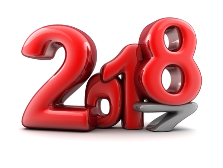 Sign new year 2018 on white background. 3d illustration