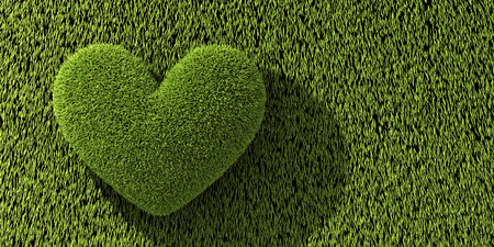 Abstract one heart on grass. 3d illustration Stock Photo