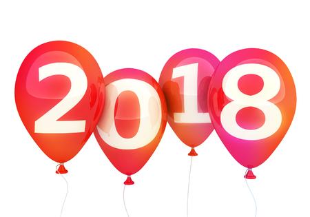Sign new year 2018 on balloon. 3d illustration Stock Photo
