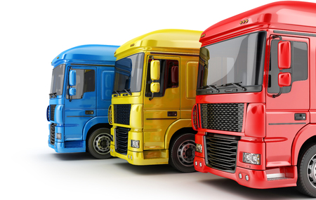 Three colored big truck on white background. 3d illustration