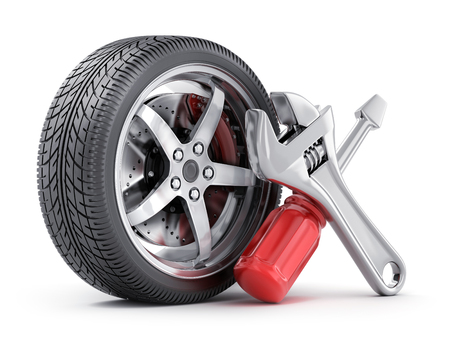 Icon repair wheel on a white background. 3d illustration
