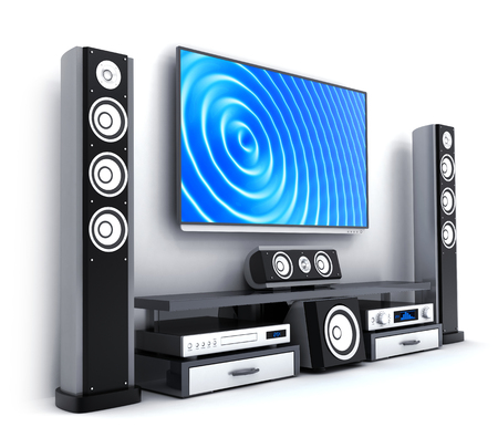 Modern TV and sound system isolated. 3d illustration