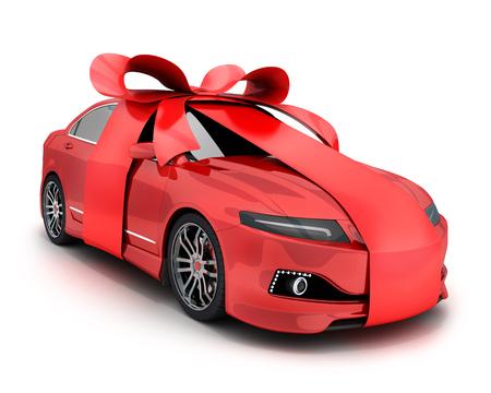 Arco rojo del coche y del regalo y cinta en el fondo blanco. Ilustración 3d