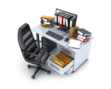Desktop and many files on white background. 3d illustration Stock Photo