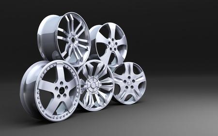 Five car disk on a black background. 3d illustration Stock Photo