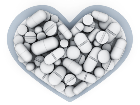 Many tablets and vitamins in shape heart on white background. 3d illustration Stock Illustration - 93634913