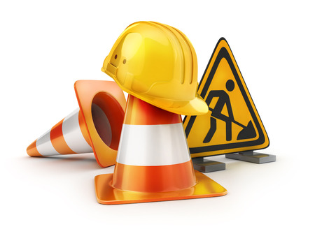 Repair road sign and orange cones and yellow helmet. 3d illustration
