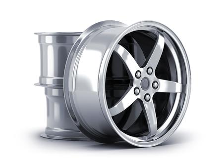 Three car disc on white background. 3d illustration Standard-Bild