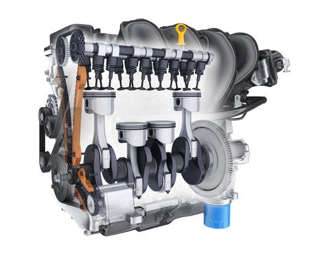 Transparent engine car on white background. 3d illustration