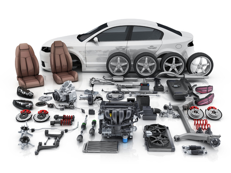 Car body disassembled   and many vehicles parts. 3d illustration Stockfoto