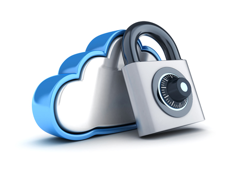 Abstract cloud storage and lock on white background. 3d illustration
