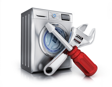 Clothes washer and symbol repair on white background. 3d illustration