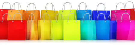 Many shopping bag multicolored. 3d illustration Stock Photo