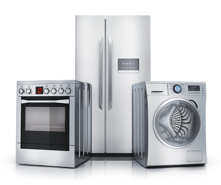 Consumer electronics stell. Fridge,washer and electric-cooker on white background. 3d illustration Stok Fotoğraf