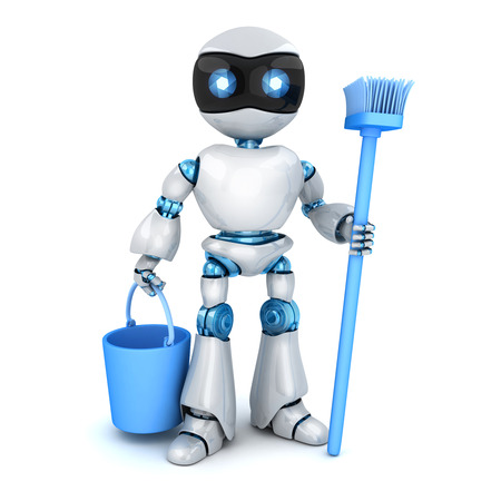 White modern robot stay and cleaner. 3d illustration Фото со стока